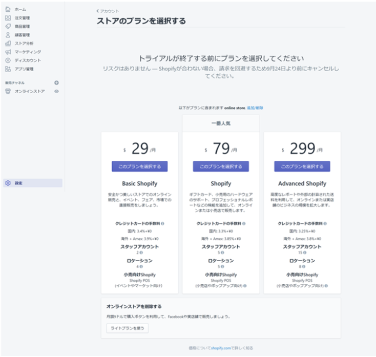 Shopify プラン内訳